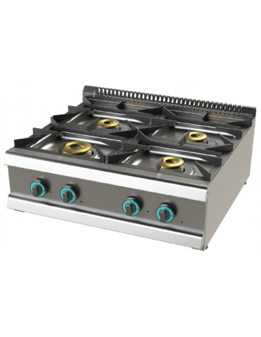 Cocina a gas sobremesa de 4 fuegos 8+4'5+6+6 Kw SerIe 700 JUNEX con medidas 800x730x240h mm FO7N400B - 1