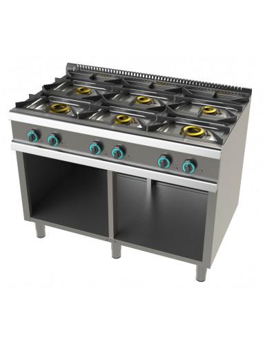 Cocina a gas con mueble de 6 fuegos 2x8+4,5+3x6 Kw SerIe 700 JUNEX con medidas 1200x730x900h mm FO7N600 - 1