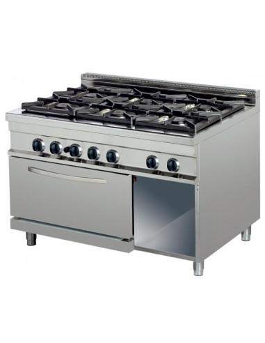 Cocina a gas 6 fuegos 6x6kw con horno de 6Kw1200x700x900h mm GR732 ARISCO - 1