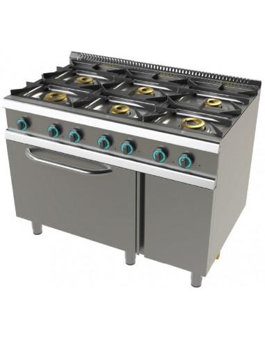 Cocina a gas con horno GN2/1 de 6 fuegos 2x8+4,5+3x6 Kw SerIe 700 JUNEX con medidas 1200x730x900h mm FO7N601 - 1