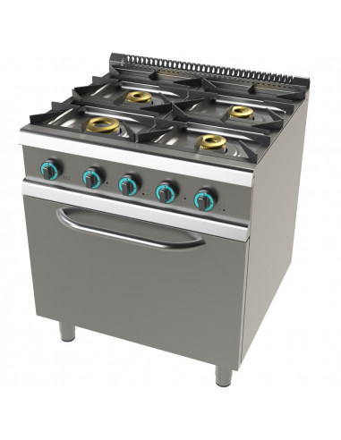 Cocina a gas con horno GN2/1 de 4 fuegos 8+4,5+6+6 Kw SerIe 700 JUNEX con medidas 800x730x900h mm FO7N401 - 1