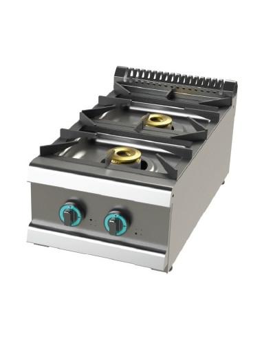 Cocina a gas sobremesa de 2 fuegos 6+4,5 Kw SerIe 700 JUNEX con medidas 400x730x240h mm FO7N200B - 1