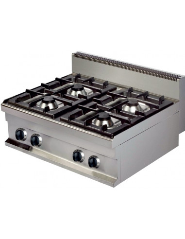 Cocina a gas sobremesa 4 fuegos 4x6kw de 800x700x290h mm GR721S ARISCO - 1