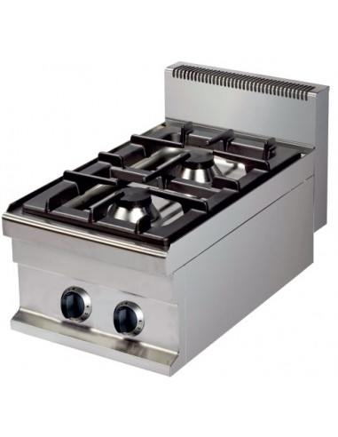 Cocina a Gas sobremesa de 2 fuegos 6+6kw 400x700x290h mm GR711S ARISCO - 1