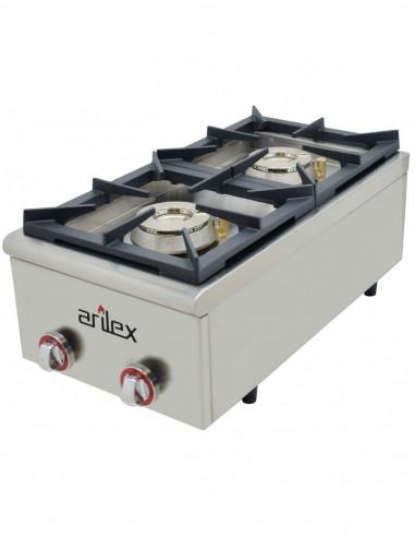 Cocina a gas serie PLUS fondo 75cm de 2 fuegos de Doble corona y llama piloto con potencia 7,5 + 4,5 Kw40CG75PLUS - 1