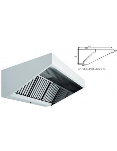 Campana Extracción Mural Hostelería en Acero Inoxidable Techo Bajo Elevado SIN TURBINA de 2000x800x550h mm 20080CMB - 1