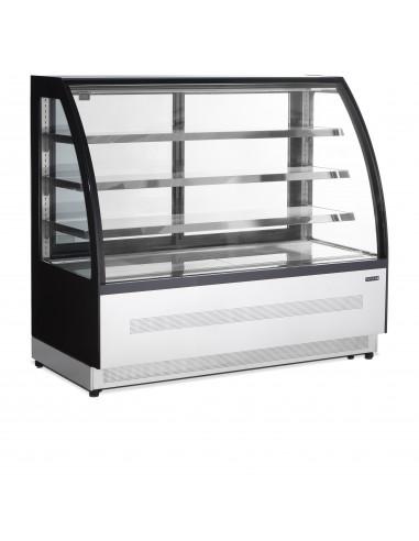 Vitrina Mostrador Refrigerada Ventilada Cristal Curvo con 3 estantes 428 Litros LPD1500C-P-BLACK - 1
