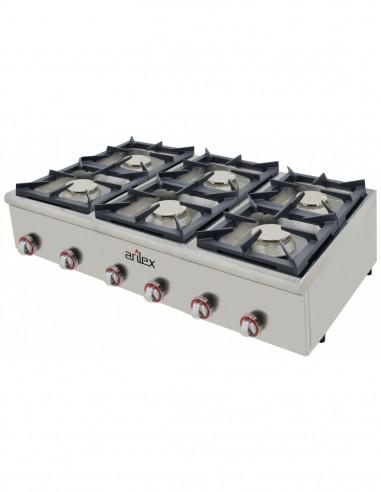 Cocina a gas serie PLUS fondo 75cm de 6 fuegos de Doble corona y llama piloto con potencia 3x7,5 + 3x4,5 Kw 120CG75PLUS - 2