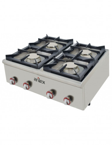 Cocina a gas serie PLUS fondo 75cm de 4 fuegos de Doble corona y llama piloto con potencia 2x7,5 + 2x4,5 Kw 80CG75PLUS - 2