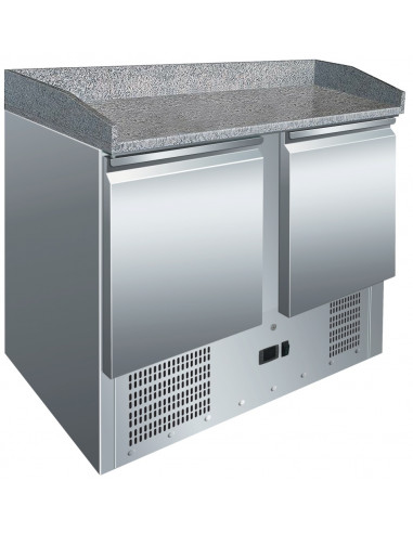 Mesa Preparación Pizzas GN1/1 de 2 Puertas con Encimera de Granito de 900x700x1010h mm S902PZ - 1