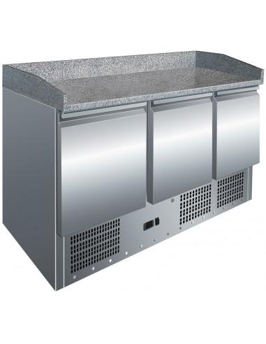 Mesa GN1/1 de 3 Puertas Preparación Pizzas con Encimera de Granito de 1365x700x1010h mm S903PZ - 1