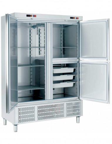 Armario Snack Refrigerado con Departamento de Congelados 2 medias puertas 1400x720x2100h mm ARCH-1203-DC - 1
