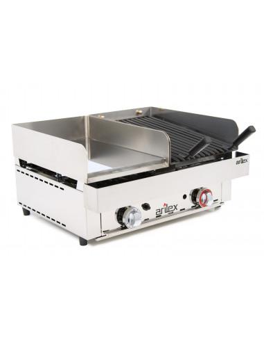 Frytops a gas 33 cm acero de 15 mm cromo duro + Barbacoa a gas 35 cm con medidas 670x590x345h mm 70FRYGCB - 2